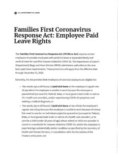 Families First Coronavirus Response Act: Employee Paid Leave Rights Document. Click on the image to learn more.